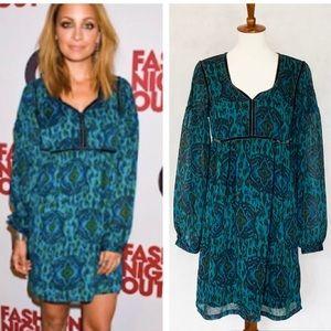 Nicole Richie Collection Teal Ikat Print Dress